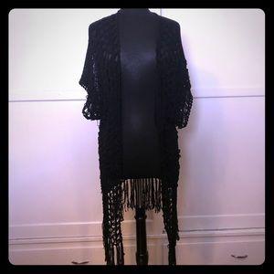 Black Knit Cardigan goth boho Fringe Vest